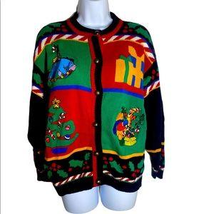 Vintage Disney Pooh Christmas Sweater Size M